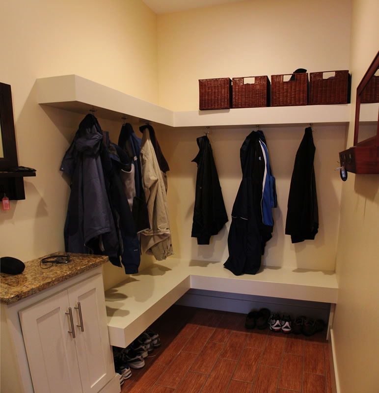 Mudroom with Floating Shelf and Seat