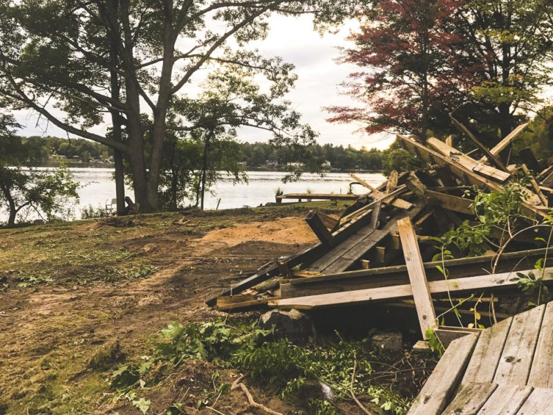 pile of boards that were once the cottage deck