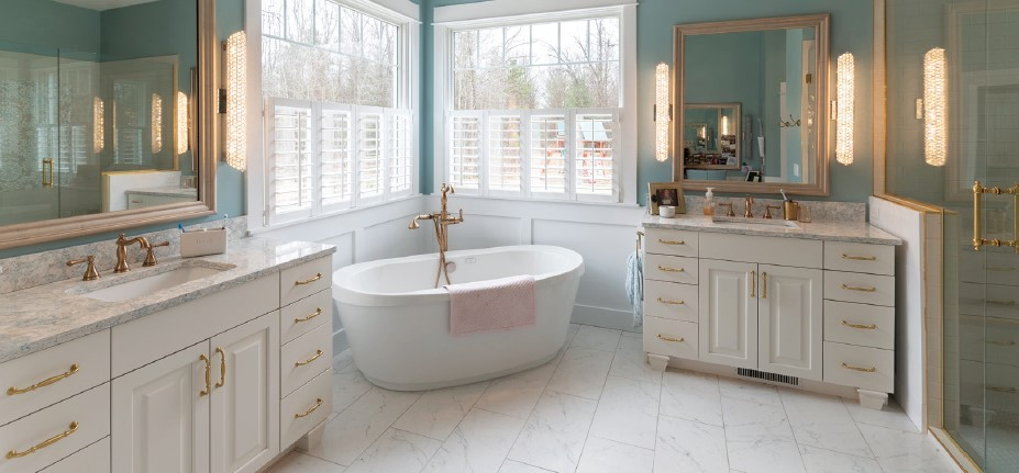 French Country Custom Home Master Bath